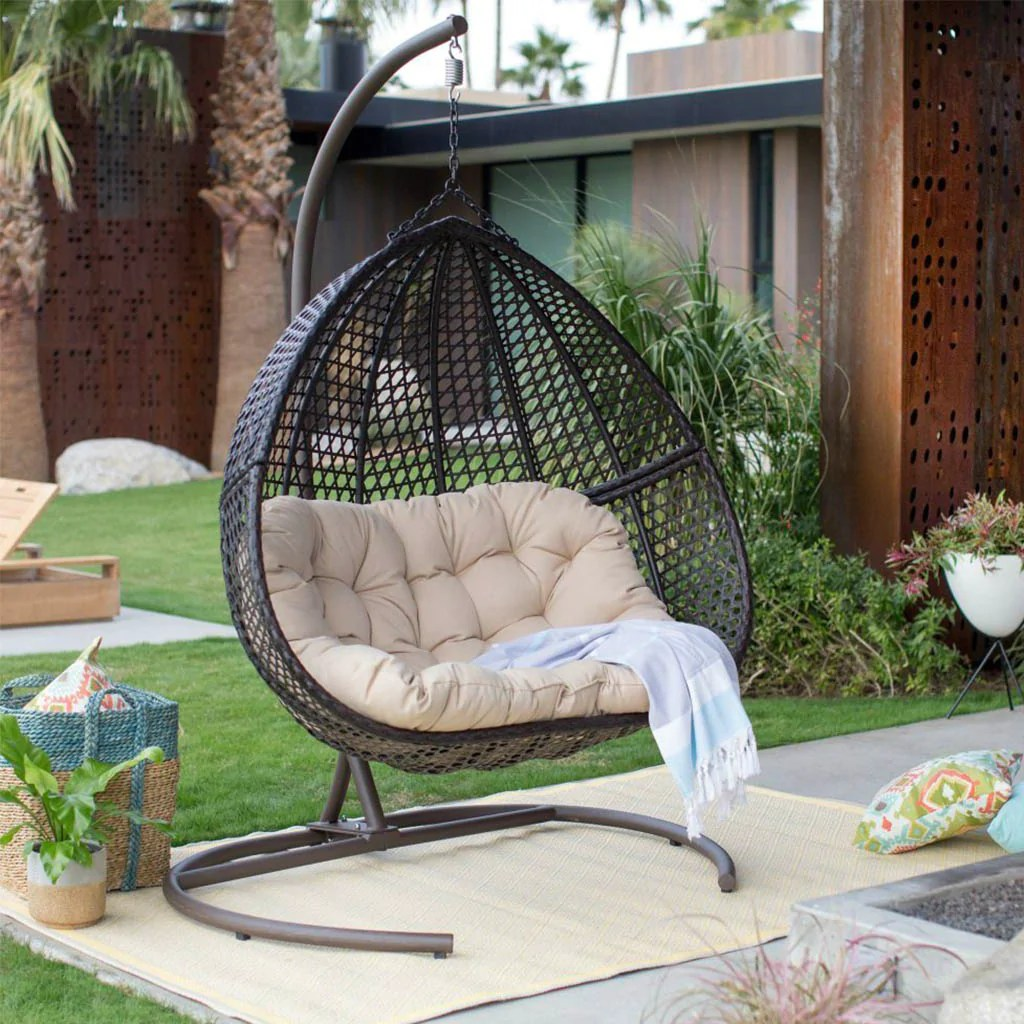 Hanging Egg Chair Outdoor Hanging Egg Chair Loveseat For Luxury Outdoor Patios